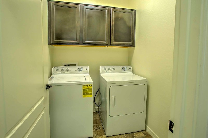 Wash clothes in the washer and dryer throughout your stay.