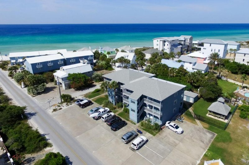 Aerial view of the condo  Inlet Sands is steps to The Beach