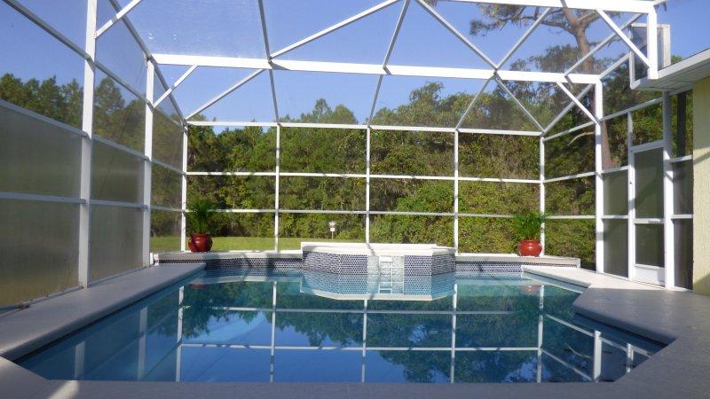 A piscina ea vista ininterrupta da reserva Flórida trás.