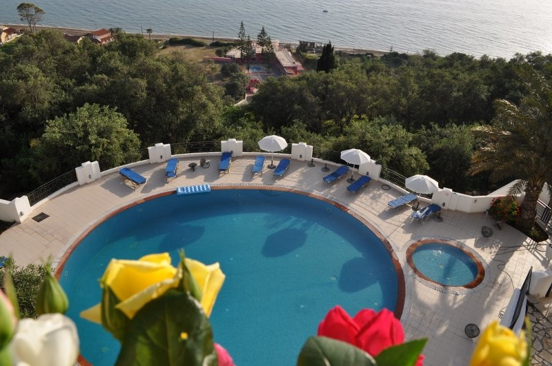 Panoramic sea view quiet luxury apartment for 4 to 5 persons, shared pool, holiday rental in Agios Gordios