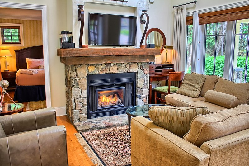 Relax in the cozy living area, complete with gas fireplace.