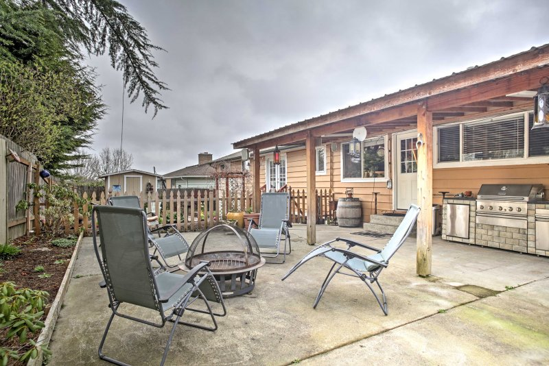 Finish nights gathered around the fire pit at your 3-bedroom, 2-bath getaway.