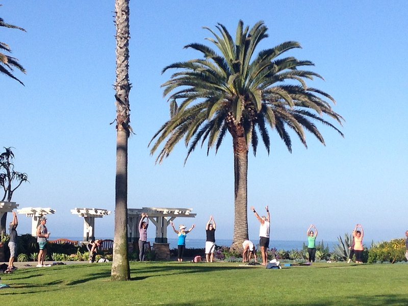 Gratis yogalessen elke ochtend (8 tot 9:30), behalve voor vrijdag en zondag in het Montage Resort.