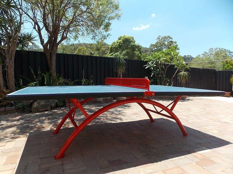 Permanent Outdoor-Tischtennistisch. Kann in der Nacht unter Beleuchtung im regen gespielt werden!