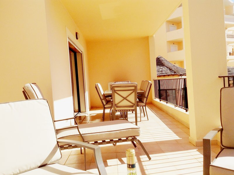 Huge double terrace for dining, sunbathing and evening relaxation.  All day sunshine
