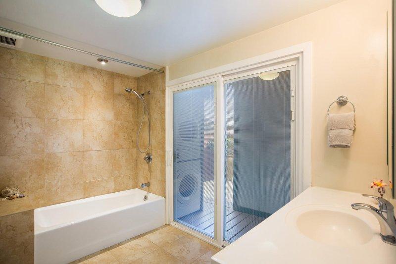 Guest cottage bathroom.