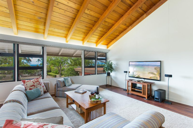 Large open-concept living room with views of the ocean!