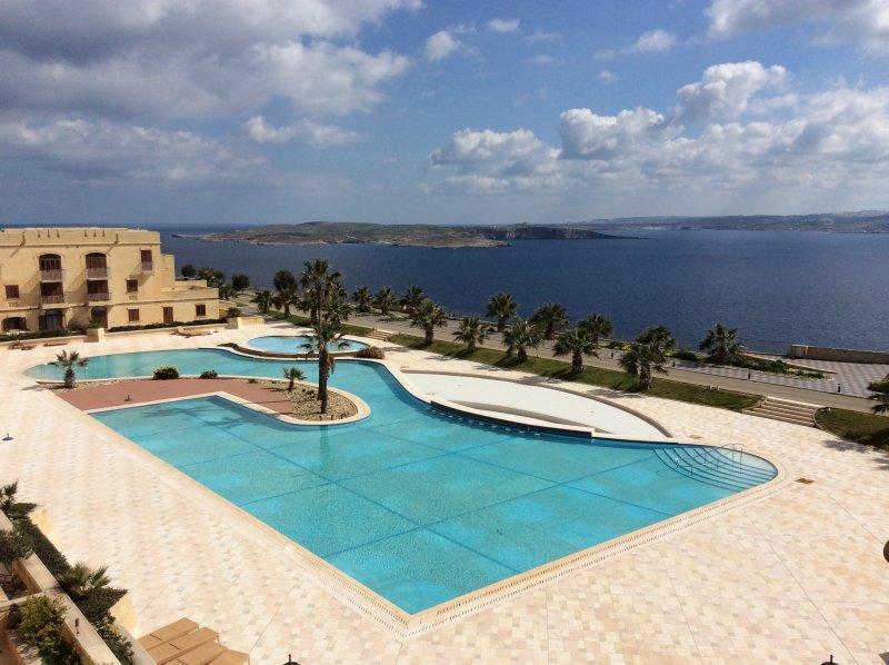 Fabulosa piscina y zona de solarium con vistas