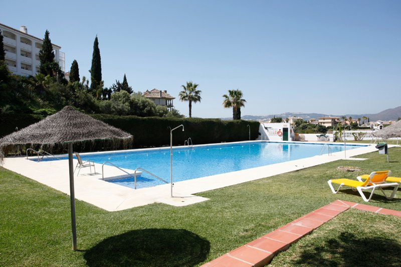 Large shared swimming pool with grassed areas, loungers, w.c. lifeguard in high season.