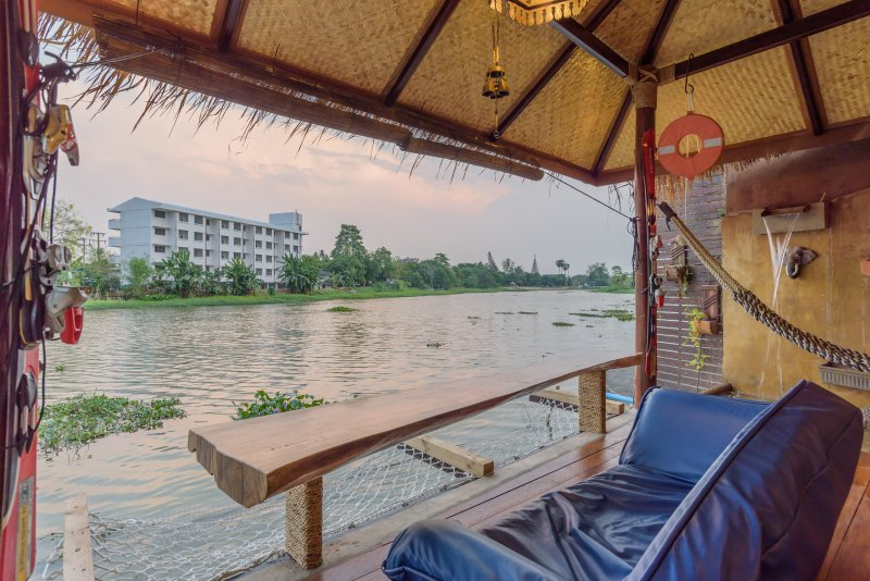 Living balcony at The Ping River ancient River in northern Thailand