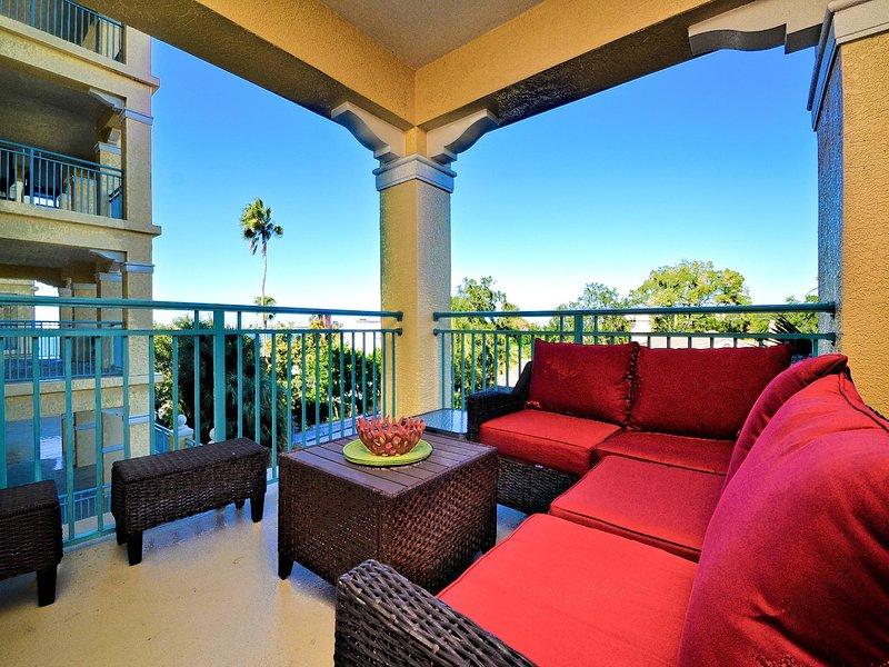 Beautiful balcony with modular seating.
