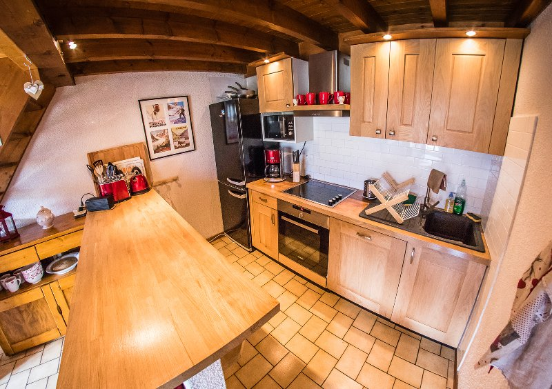 Kitchen with oven, microwave, fridge-freezer, raclette grill, fondue set, dishwasher etc
