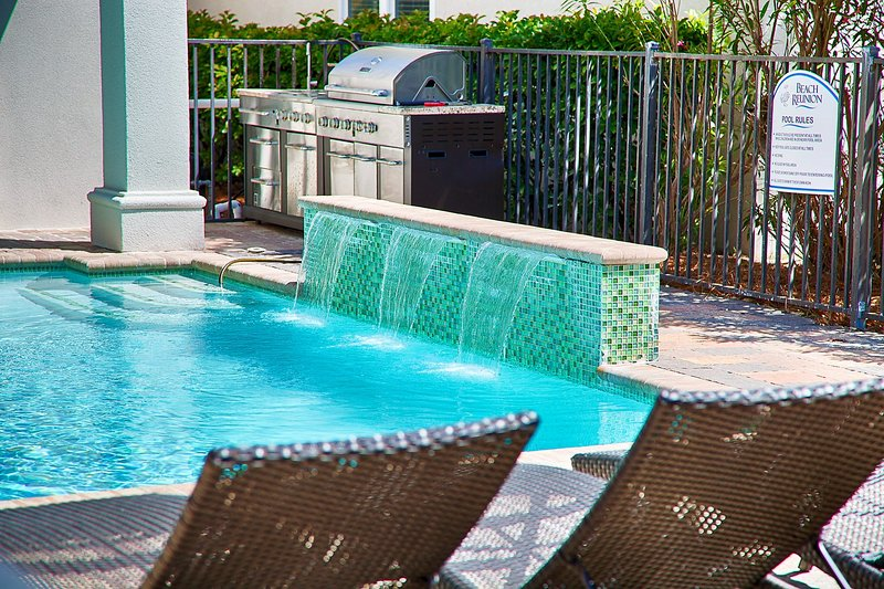 Pool Deck with waterfall