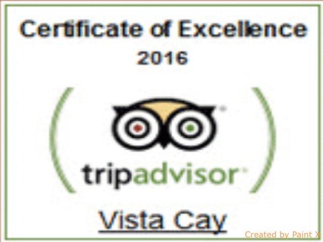 Certificado de excelencia Vista Cay Resort, donde se encuentra la casa