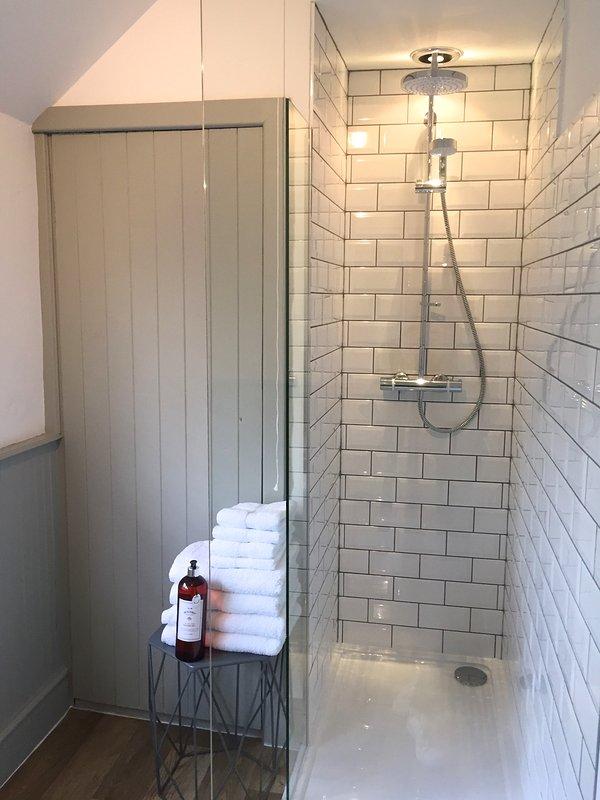 Rain fall shower with luxury  body wash.