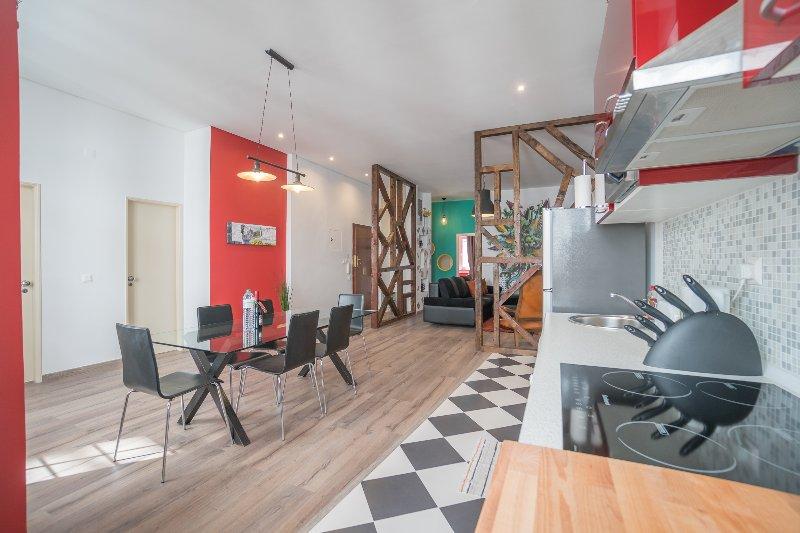 uitzicht vanuit de keuken van de open ruimte