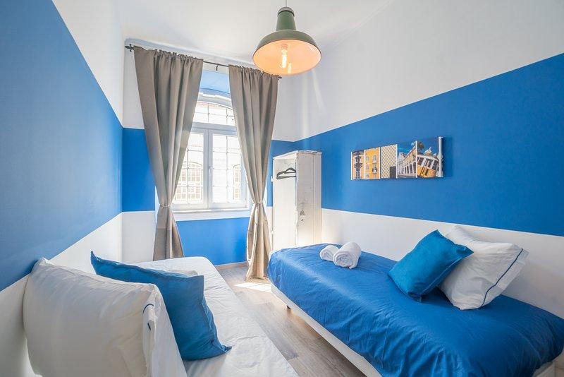 blauwe slaapkamer twin