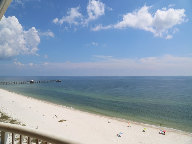 Great view of fishing pier from private balcony