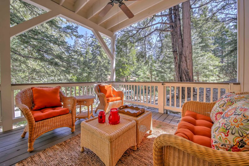 Read your favorite book on the front porch and look out onto wooded views.