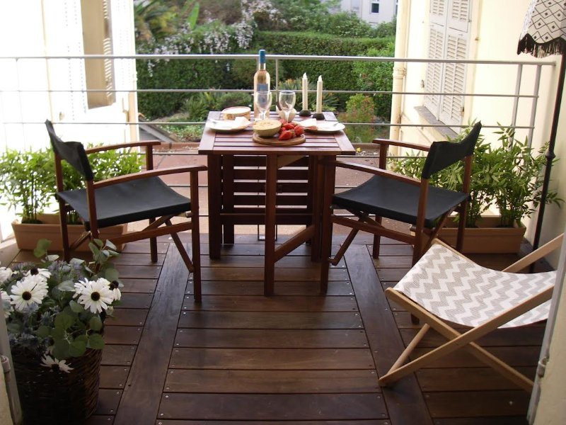 Dining table at the cozy balcony