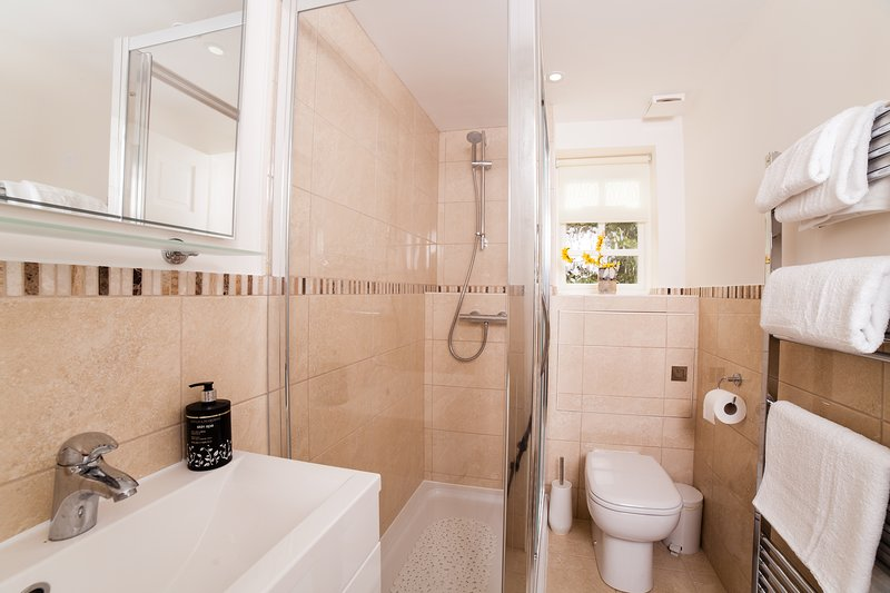 New shower-room at Serendipity, with large walk in shower and heated towel rail