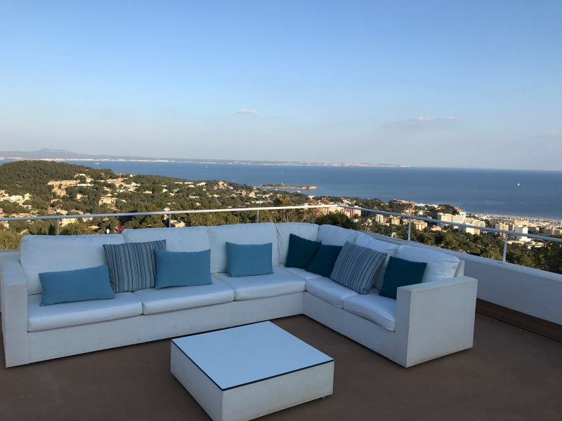 Panoramic view from the terrace with 180 degree sea views