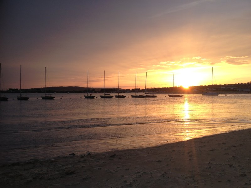 Sunset over the harbour.