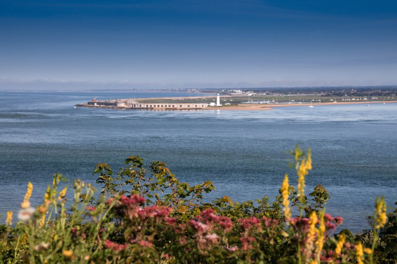 A short 10 minute walk through the woodlands includes some stunning views across the sea