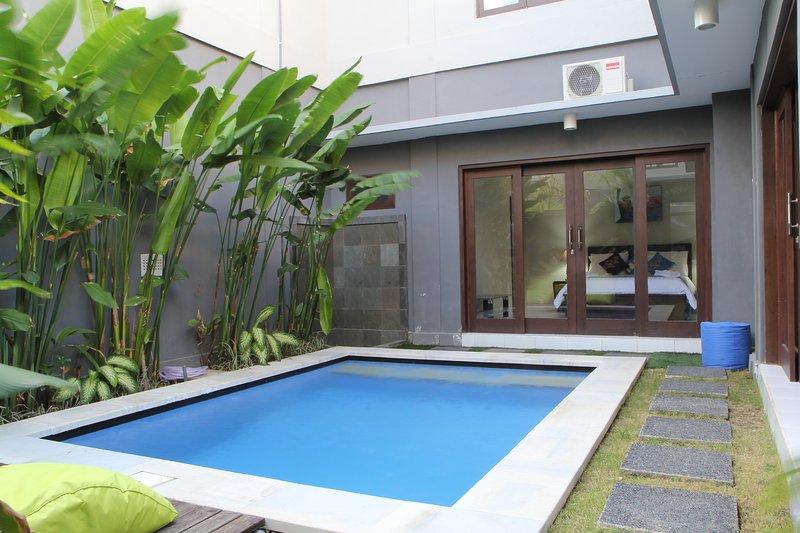 Vue sur la piscine de l'entrée