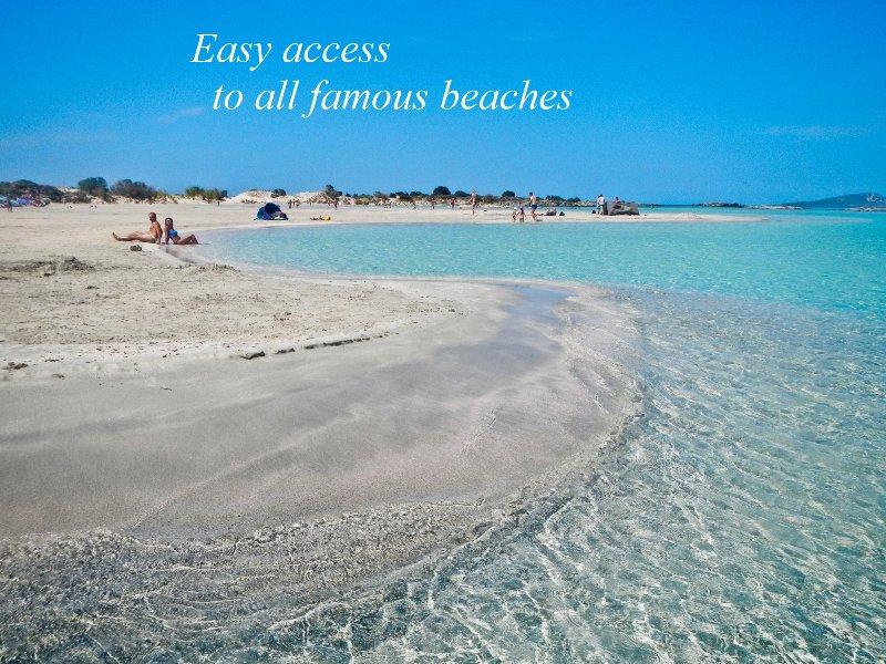 Easy access to all famous beaches. Elafonisi beach-lagoon