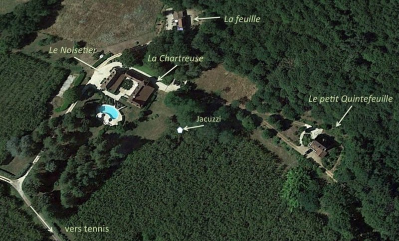 General view of the all property  The Manor  The Noisetier  Le Petit Quintefeuille are for rent