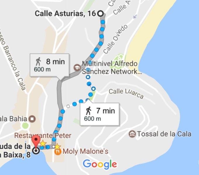 Walking tour to La Calita Beach