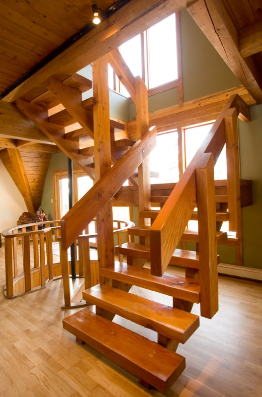 Stairs from Main Living Room to upper Loft sleeping area