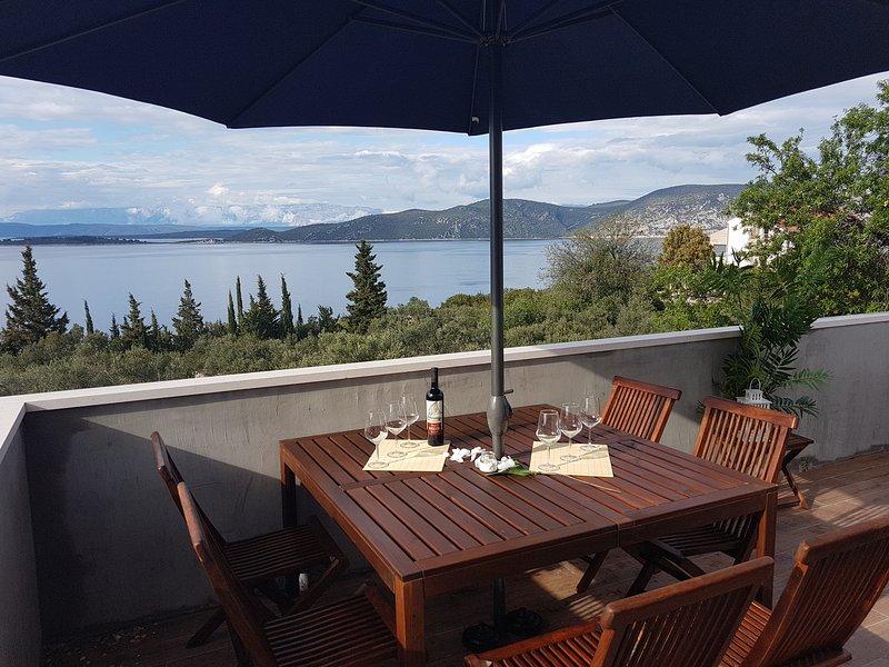 Vista perfetta, estate, isola, Korcula, Racisce, terrazzo, mare