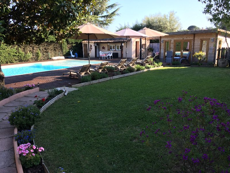 Our Lovely Pool Chalet Garden area, with our Family Pool
