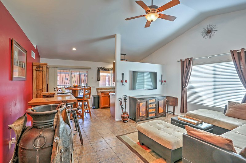 The lovely home features beautiful furnishings and natural light throughout.