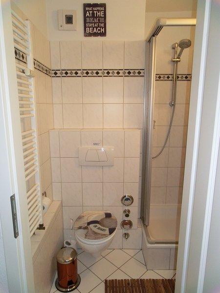 Salle de bains lumineuse avec douche, WC, sèche-serviettes et armoire de toilette