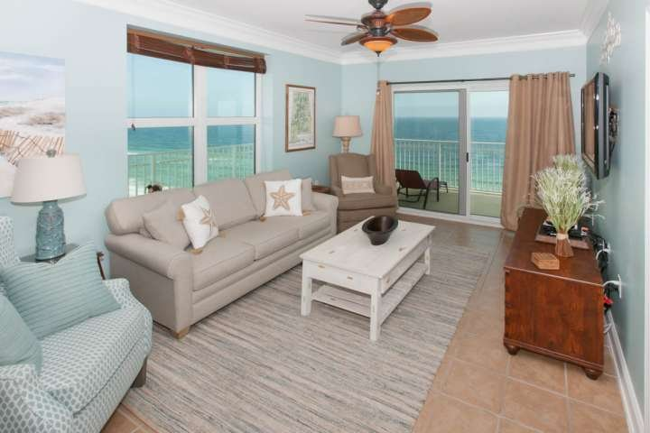 Living room with beautiful views of the Gulf