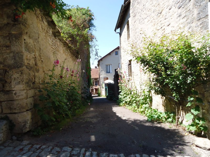 One of the many village streets lined with hollyhocks.