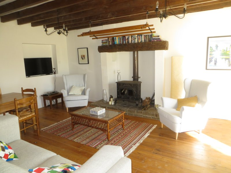 Lounge is centred on the wood burner in a large fire place