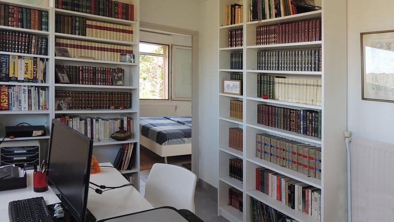 La mezzanine à l'étage organisée e bureau / bibliothèque