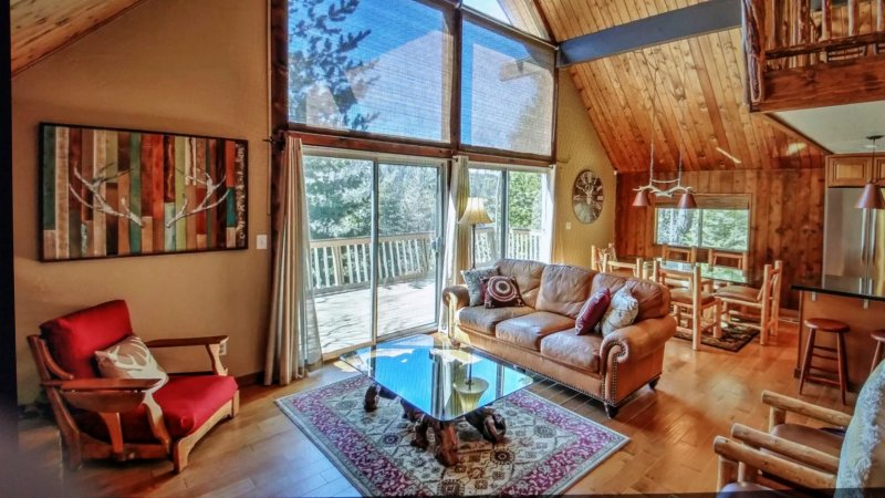 Lots of reclaimed wood throughout to give the cabin its rustic appeal.