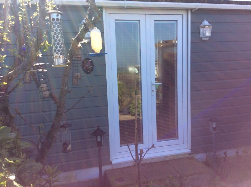Front double French doors of chalet