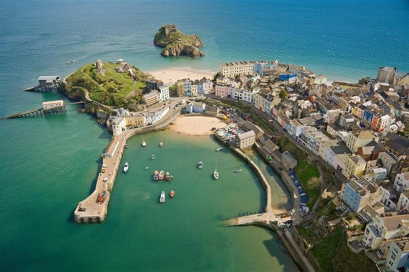 Aerial shot of Tenby town and harbour. Just a short 5 minute drive.
