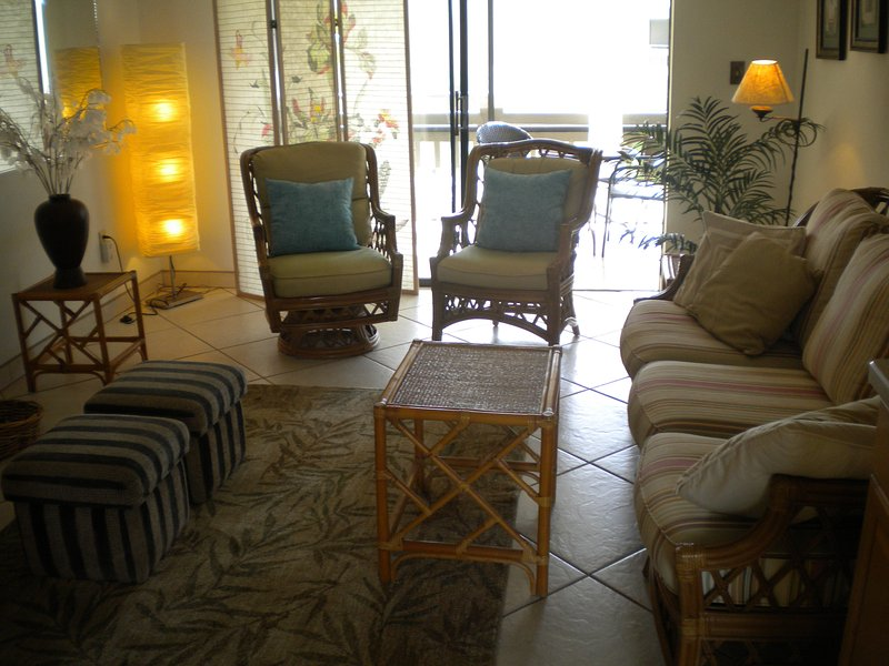 concepto de sala de estar abierta con TV y WiFi abierta a la terraza.