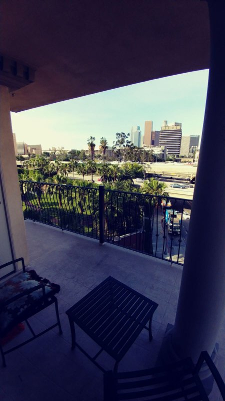 Enjoy this amazing Downtown LA view in the balcony .