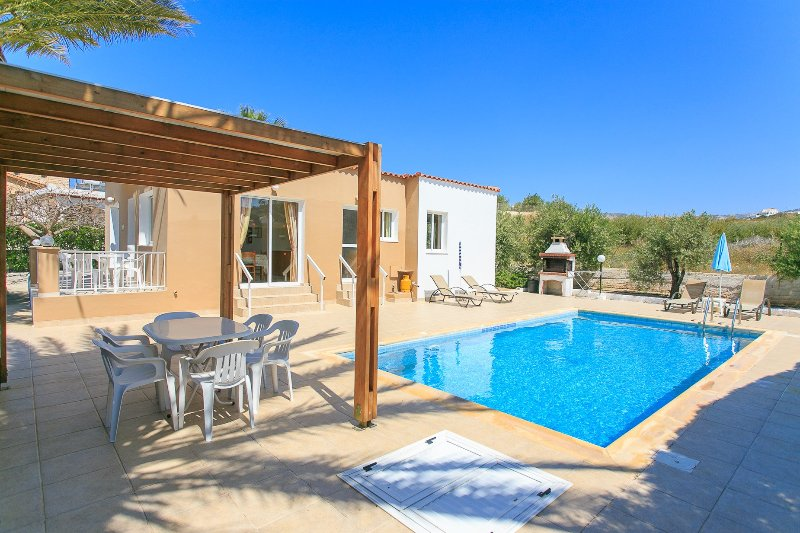 Private swimming pool with terrace area