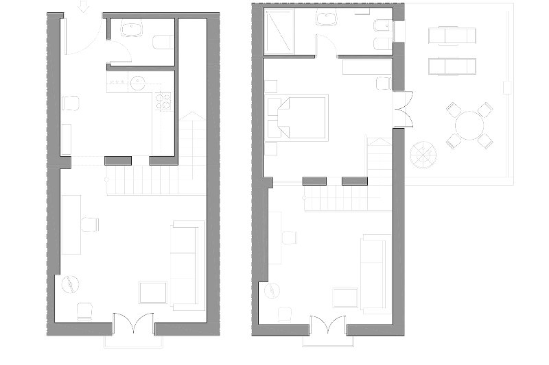 40 sqm + terrace | second/third floors | without elevator