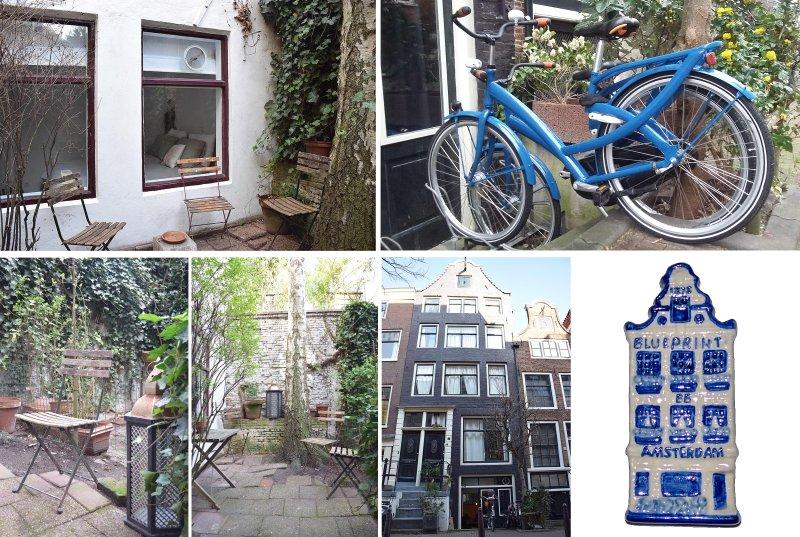 Le jardin à côté de la chambre et la vue de face de la maison avec les vélos.