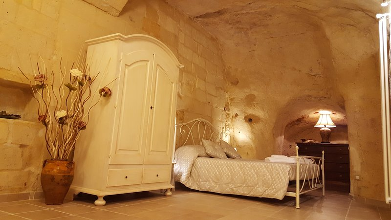 Sleeping area carved into the rock